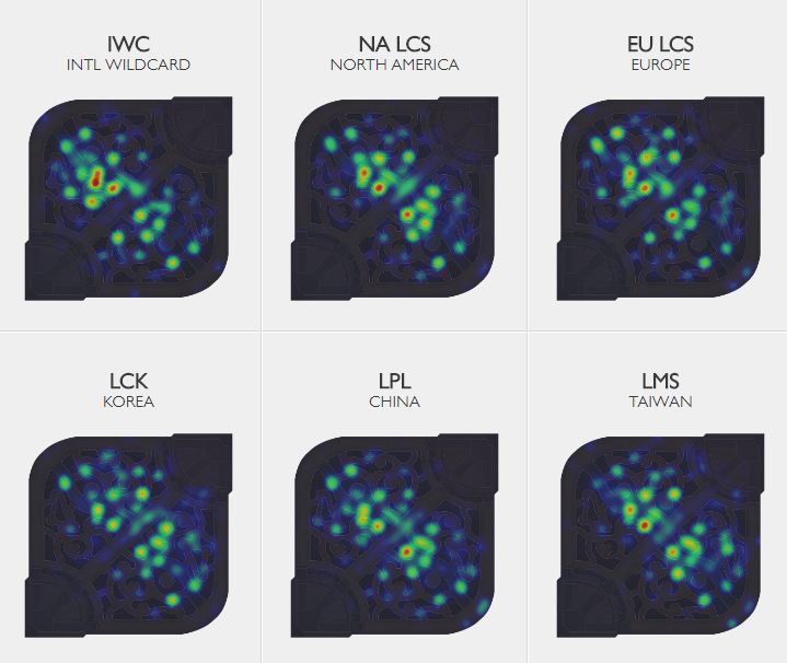 Riot's professional League of Legends ward heat map