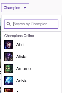 Twitch Champ search