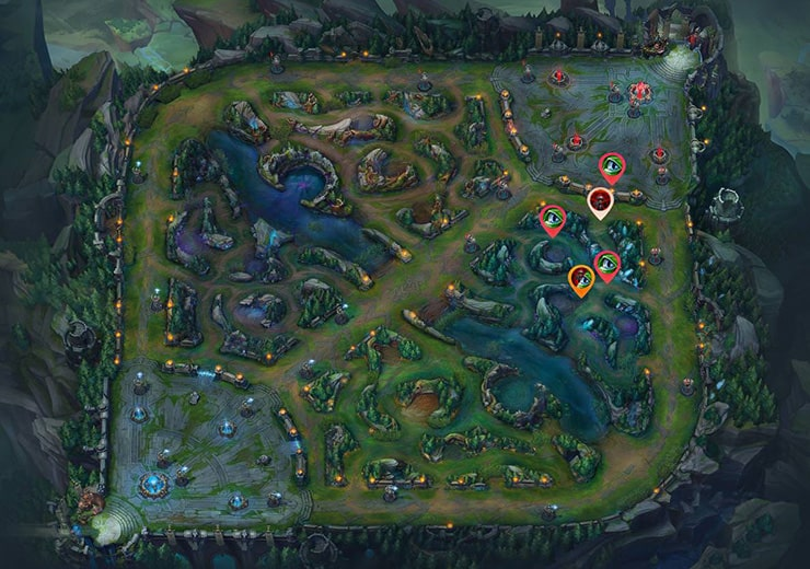 Wards for sieging Bot lane inhibitor as blue team