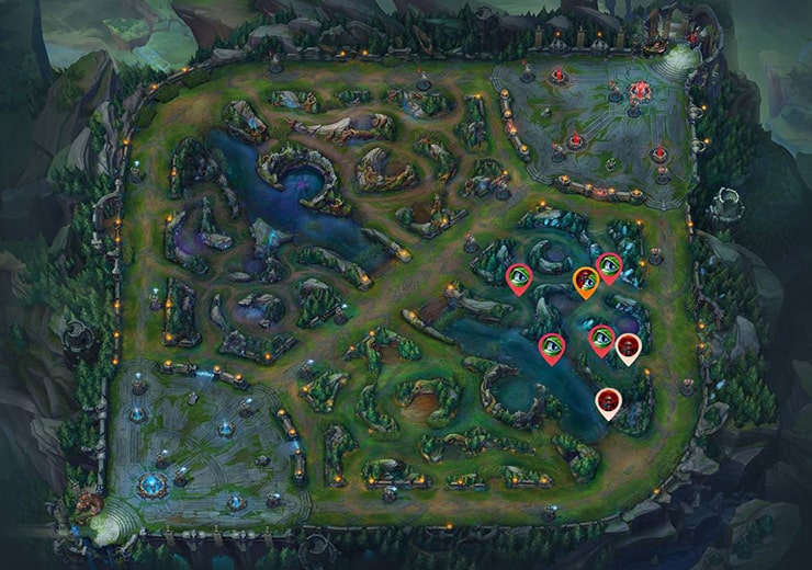 Wards for sieging tier 2 Bot turret as blue team