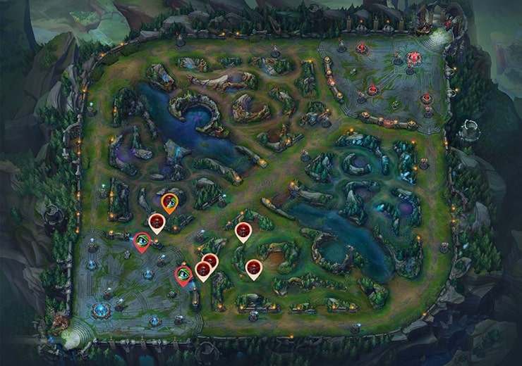 Wards for sieging Mid inhibitor as red team