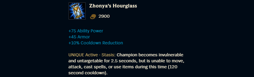 Zhonyas Hourglass Description