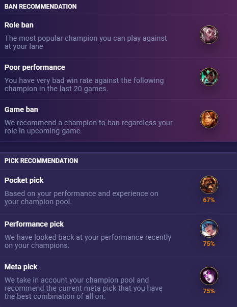 Pick ban recommendations updated