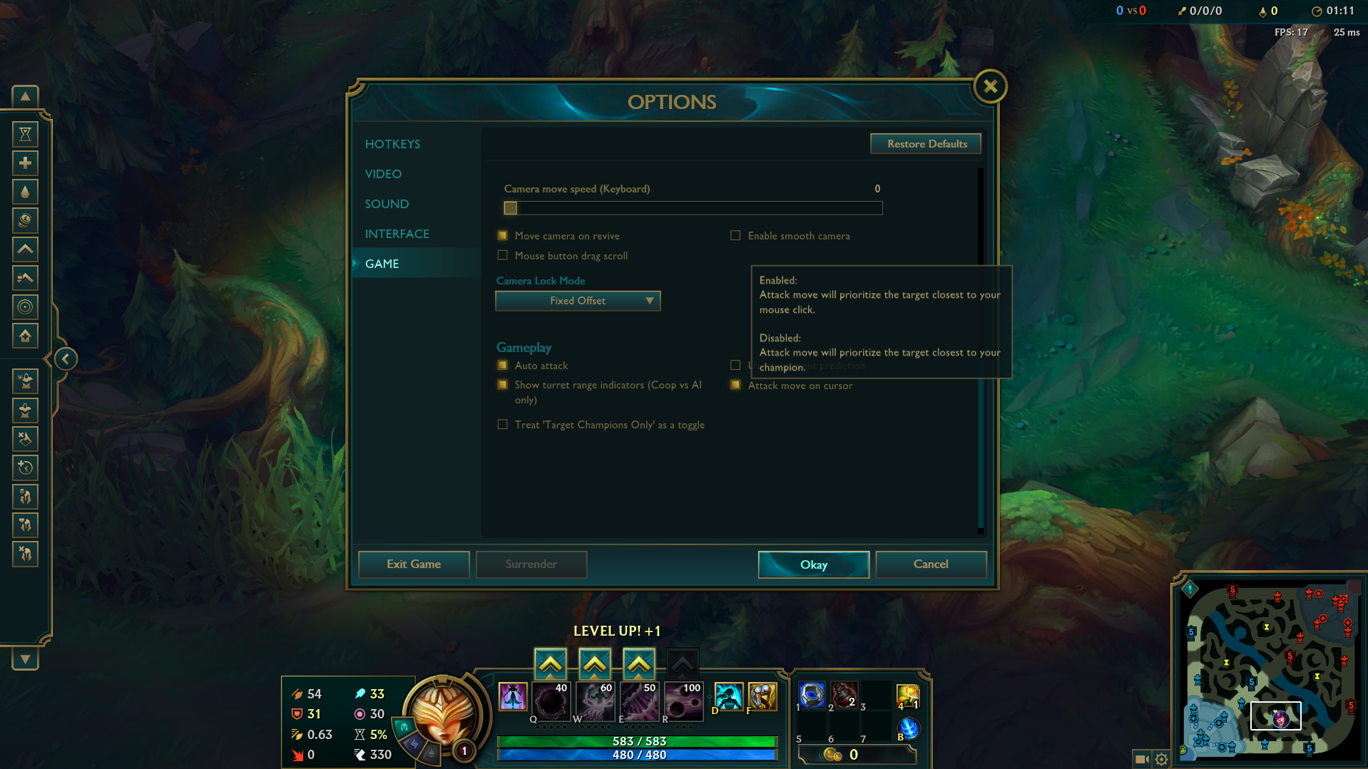 League of Legends in game settings