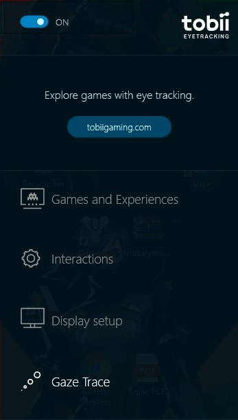 tobii eyetracking tray menu