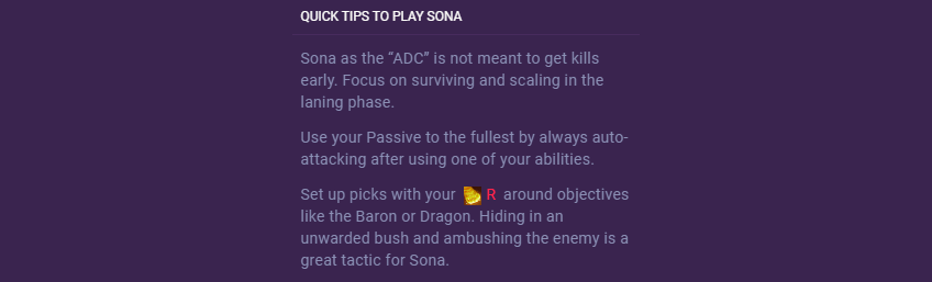 sona quick tips