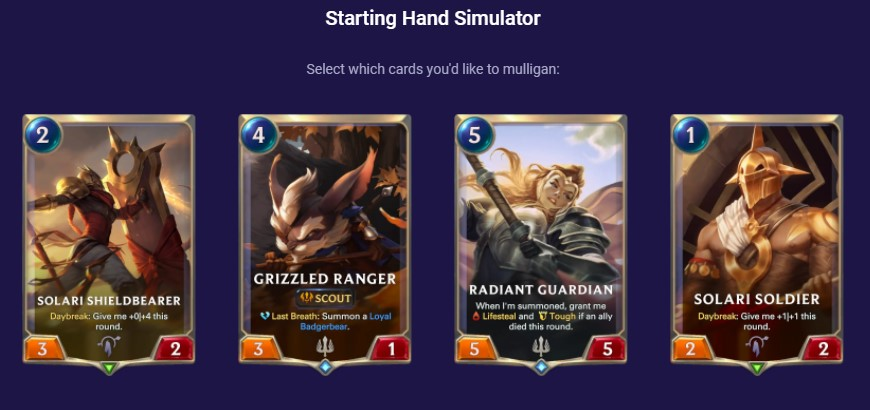 lux sol starting hand simulator