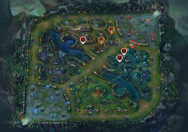 Wards for sieging Mid tier 2 turret as blue team